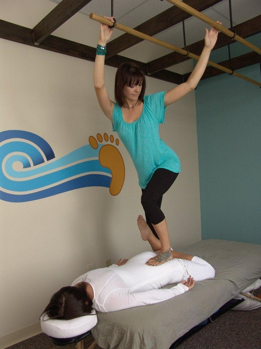 Fig. 2. Ashiatsu for the iliopsoas and rectus femoris muscles